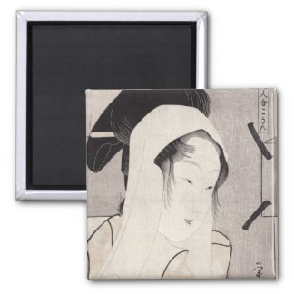 A bust portrait of Kokin 2 Inch Square Magnet