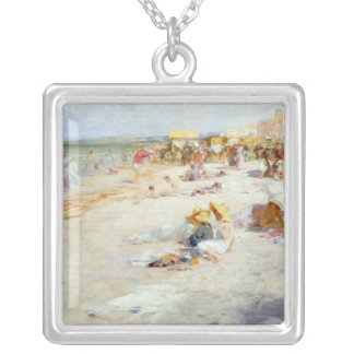 A Busy Beach in Summer Silver Plated Necklace