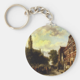 A Busy Market in Veere with the Clocktower of the Keychain