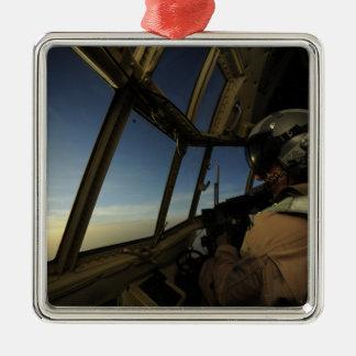 A C-130 Hercules pilot scans the horizon Metal Ornament