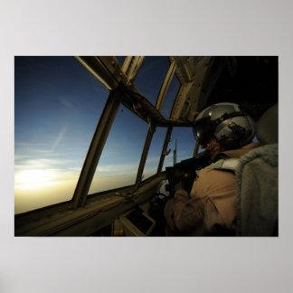 A C-130 Hercules pilot scans the horizon Poster
