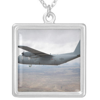 A C-130 Hercules soars through the sky Silver Plated Necklace