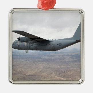 A C-130 Hercules soars through the sky Square Metal Christmas Ornament