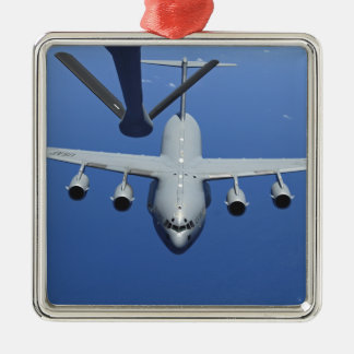 A C-17 Globemaster III approaches the boom Christmas Tree Ornament