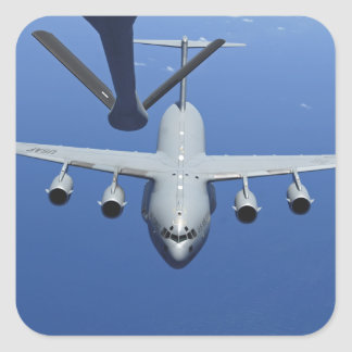 A C-17 Globemaster III approaches the boom Square Sticker