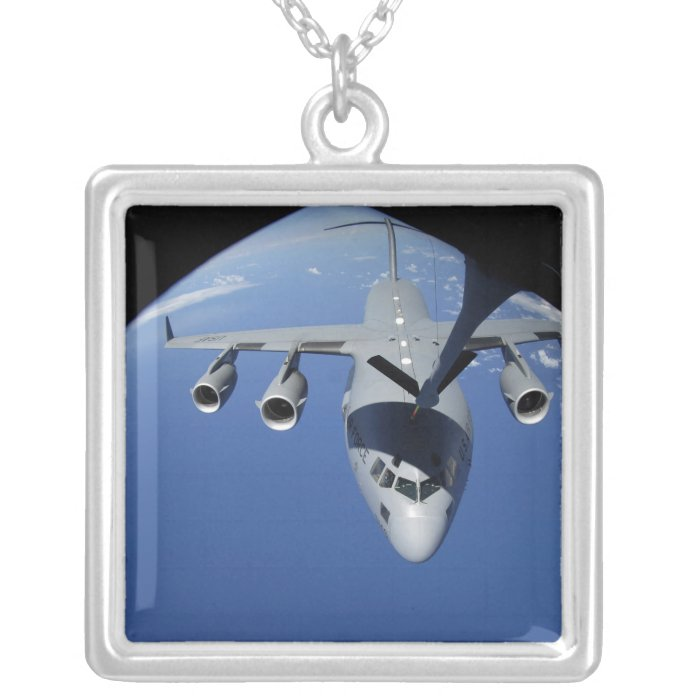 A C-17 Globemaster III receives fuel 2 Silver Plated Necklace