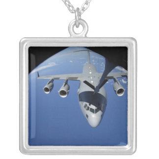 A C-17 Globemaster III receives fuel 2 Square Pendant Necklace