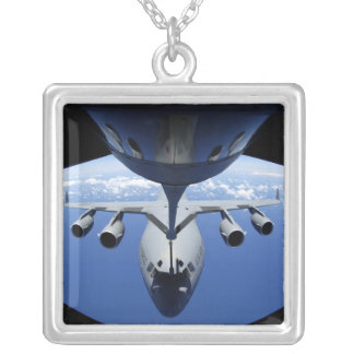 A C-17 Globemaster III receives fuel Square Pendant Necklace