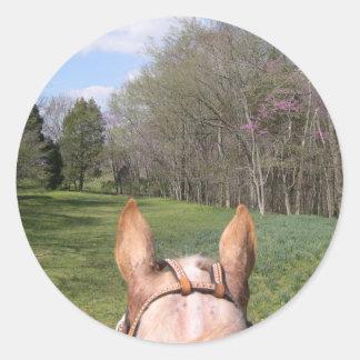 A caballo paseo pegatina redonda