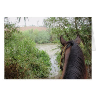 A caballo tarjeta de nota del río