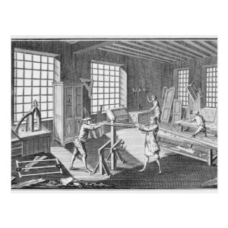 A cabinet maker's workshop, from the 'Encyclopedie Postcard
