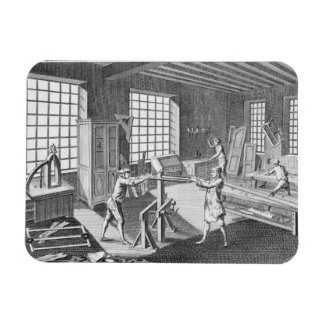 A cabinet maker's workshop, from the 'Encyclopedie Rectangular Photo Magnet