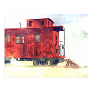 A caboose at the end of the line post card