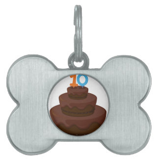 A cake with candle 10 pet tags