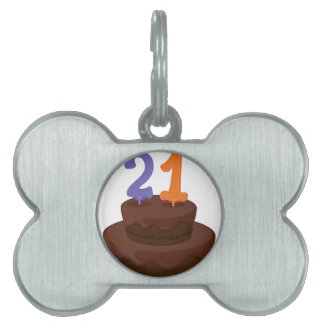 a cake with candle pet name tags