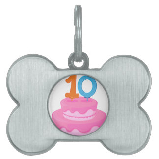a cake with candle pet tags