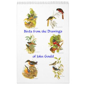 A calendar of bird painitings from John Gould.