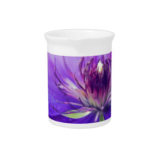 A Calyx of Blue Floral Photography Fine Art Nature Beverage Pitcher