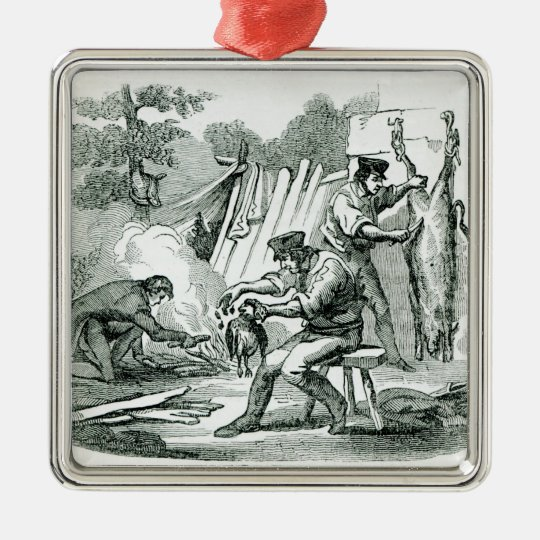 A camp Kitchen, 1856 Metal Ornament