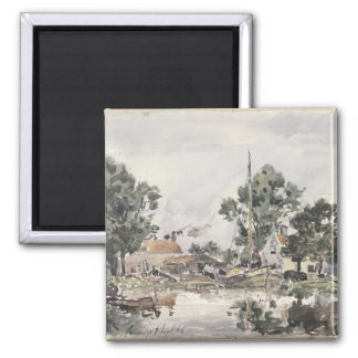 A Canal in The Hague, 1868 2 Inch Square Magnet
