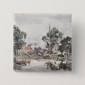 A Canal in The Hague, 1868 Button