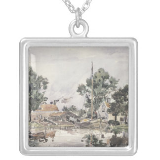 A Canal in The Hague, 1868 Silver Plated Necklace