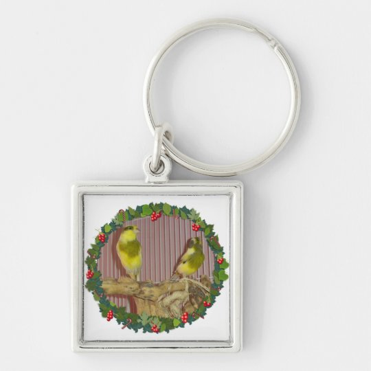 A Canary Christmas Wreath Keychain