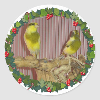 A Canary Christmas Wreath Round Stickers