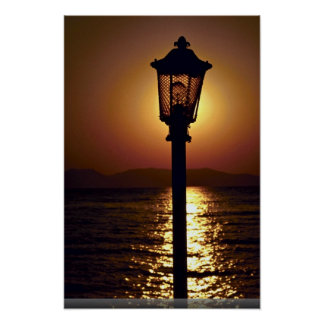 A candelabrum backed by a sunset, Aegean Sea, Turk Poster