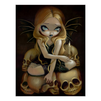 A Candle in the Dark gothic fairy skull Art Print