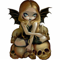 art, fantasy, candle, candles, skull, skulls, skeleton, skeletons, cemetery, gothling, bat, wing, batwings, wings, blonde, blond, dark, dark fantasy, gothic fantasy, goth fairy, goth, gothic, eye, eyes, big eye, big eyed, jasmine, becket-griffith, becket, griffith, jasmine becket-griffith, jasmin, strangeling, artist, fairy, gothic fairy, faery, fairies, faerie, Photo Sculpture with custom graphic design