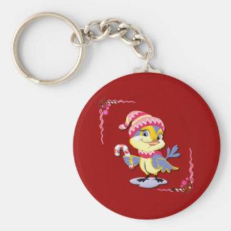 A Candy Cane Birdie Keychain