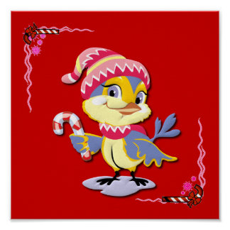 A Candy Cane Birdie Posters