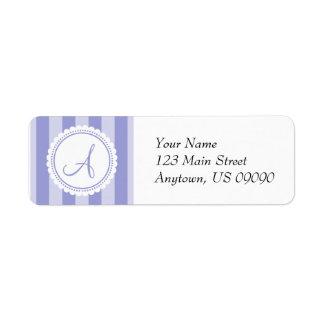 A Candy Striper Monogram Address Labels (Purple)