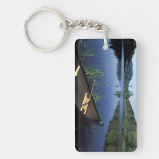 A canoe rests on the shore of Little Long Pond Keychain