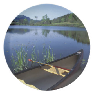 A canoe rests on the shore of Little Long Pond Dinner Plate