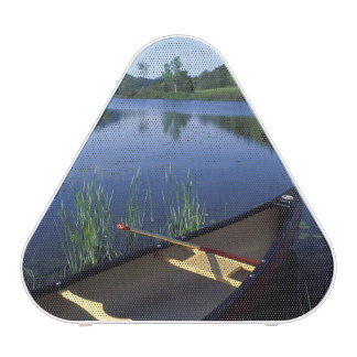 A canoe rests on the shore of Little Long Pond Speaker