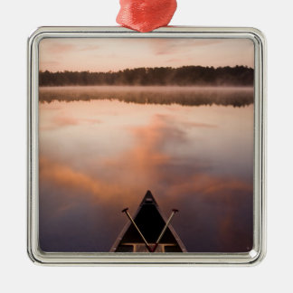 A canoe rests on the shore of Pawtuckaway Lake Square Metal Christmas Ornament
