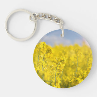 A canola field in spring Double-Sided round acrylic keychain