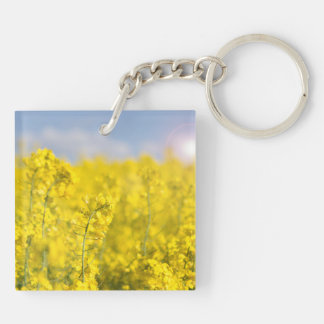 A canola field in spring Double-Sided square acrylic keychain