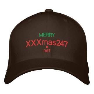 """A cap wIth """"MERRY XXXmas247.net"""" On It Embroidered Hat"""