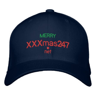 """A cap wIth  """"MERRY XXXmas247.net"""" On It Embroidered Hats"""