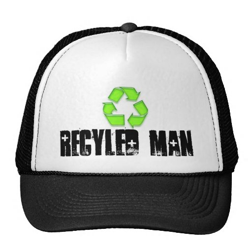 A CAP with  RECYLED MAN on it Trucker Hats