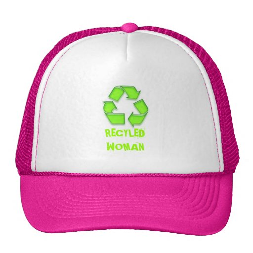 A Cap with RECYLED WOMAN on it Mesh Hats