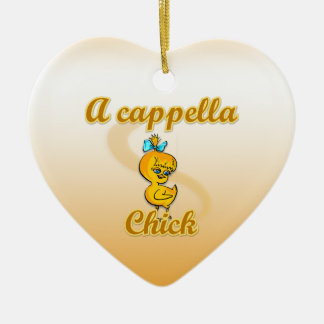A cappella Chick Double-Sided Heart Ceramic Christmas Ornament