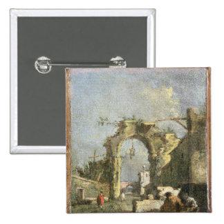 A Capriccio - Ruins, 18th century Pinback Buttons