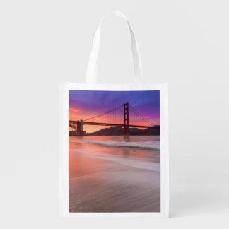 A capture of San Francisco's Golden Gate Bridge Reusable Grocery Bags