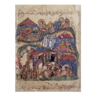 A Caravan Stop, from 'The Maqamat'  by Poster