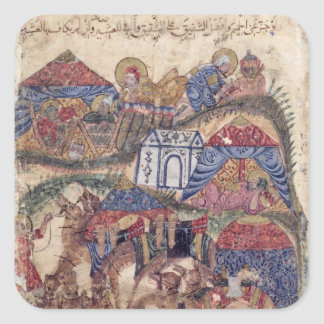 A Caravan Stop, from 'The Maqamat'  by Square Sticker