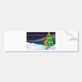 A card with an elf facing the christmas tree bumper sticker